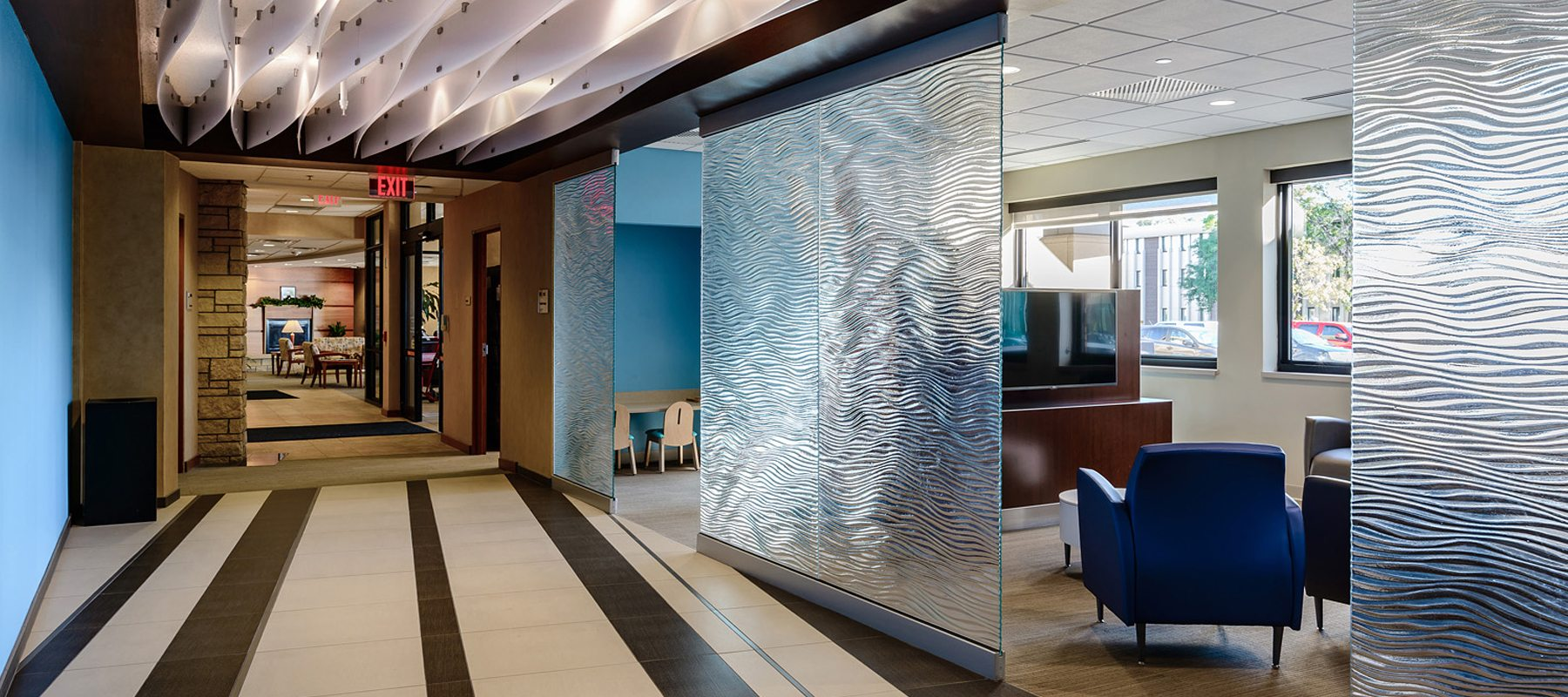mirage texture decorative glass partition for Mother Mercy Hospital