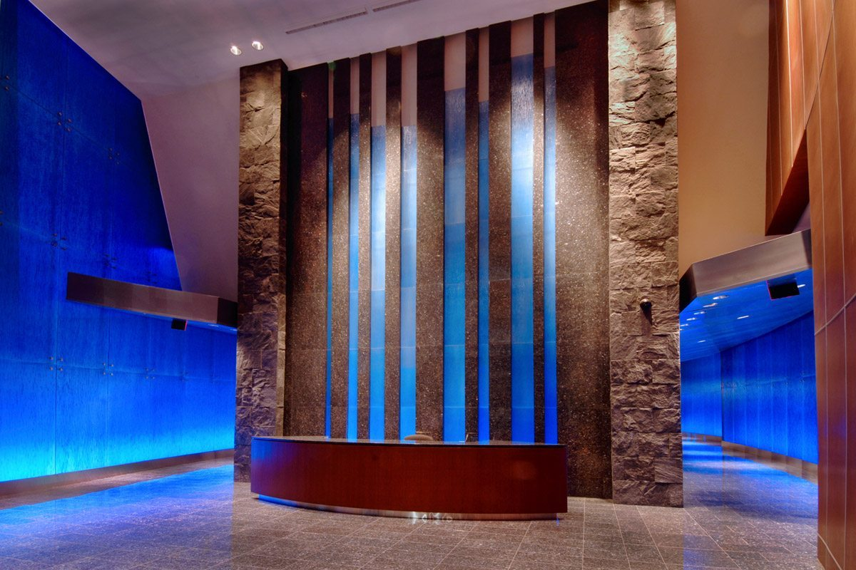 cascade xl cobalt blue textured glass wall for Hayden Ferry by Nathan Allan Glass Studios