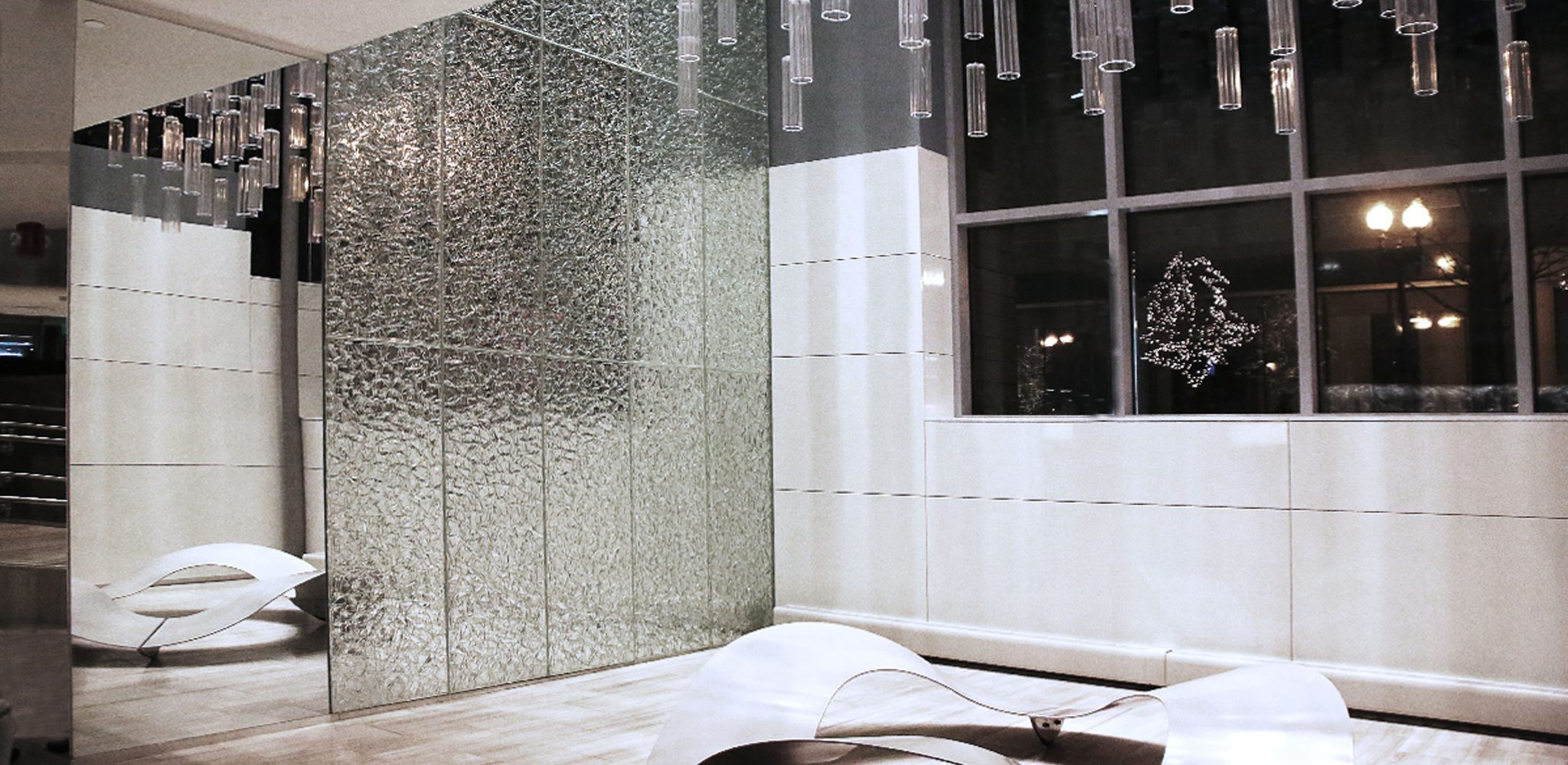 crackle glass wall revere hotel
