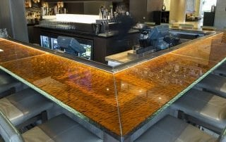 decorative glass bar top by Nathan Allan Glass Studios