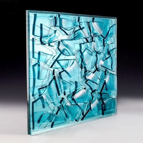 Crackle Aqua Blue Glass