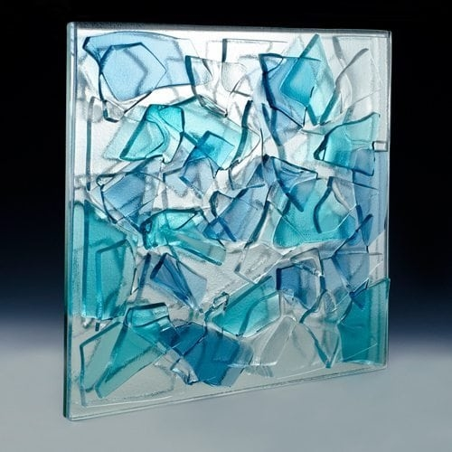 Blue - Aqua Blue Crackle Glass