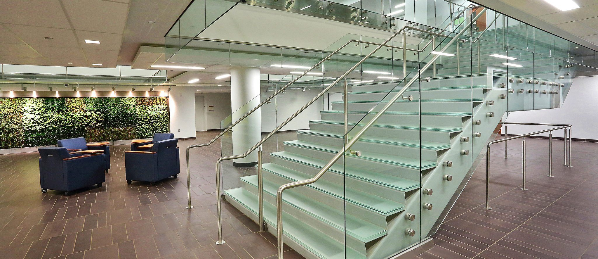 decorative glass stair treads by Nathan Allan Glass Studios