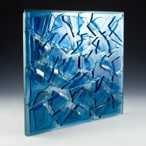 Crackle Blue Glass