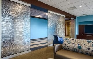 mirage texture decorative glass partitions by Nathan Allan Glass Studios