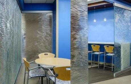 glass partitions for Mother Mercy Hospital by Nathan Allan Glass Studios