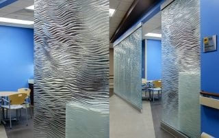 mirage texture decorative glass partitions by Nathan Allan for Mother Mercy Hospital