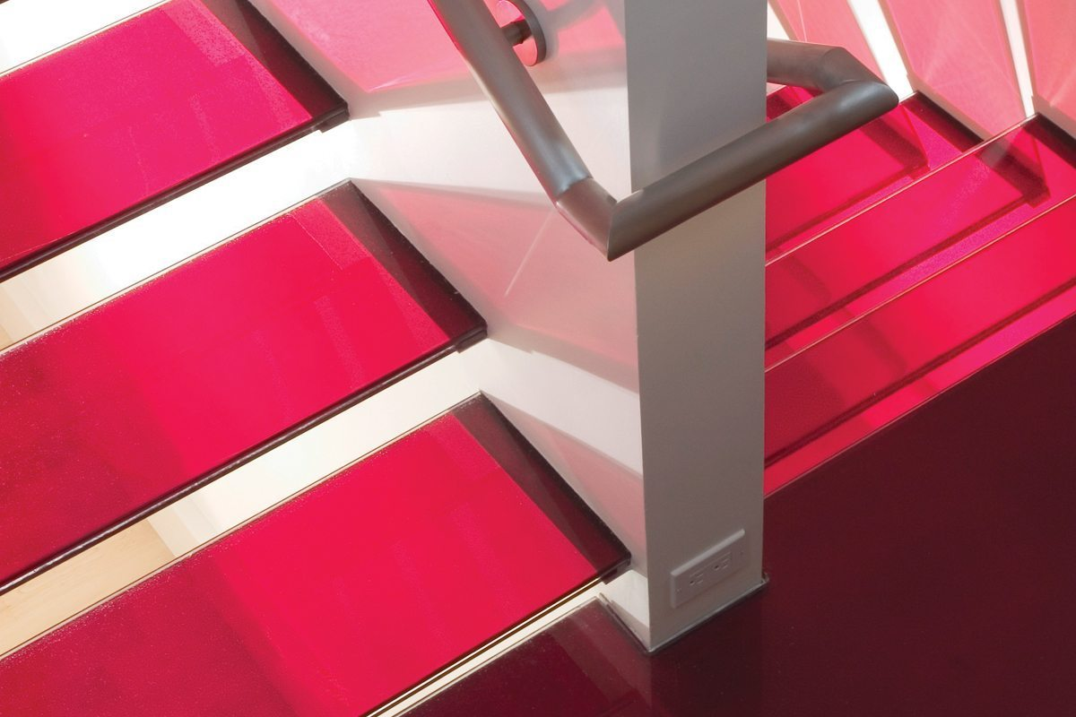 colored glass stairs