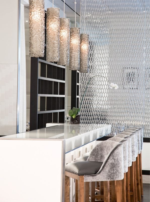 Teardrop XL architectural glass partition by Nathan Allan Glass Studios