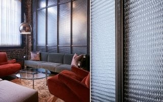 Jewel textured glass wall for Ludlow House, NY by Nathan Allan Glass Studios