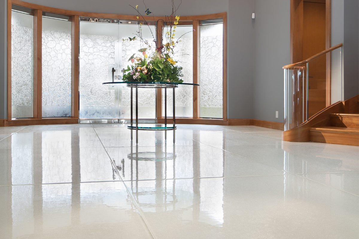 White Metallic Glass Flooring | Nathan Allan Glass Studios