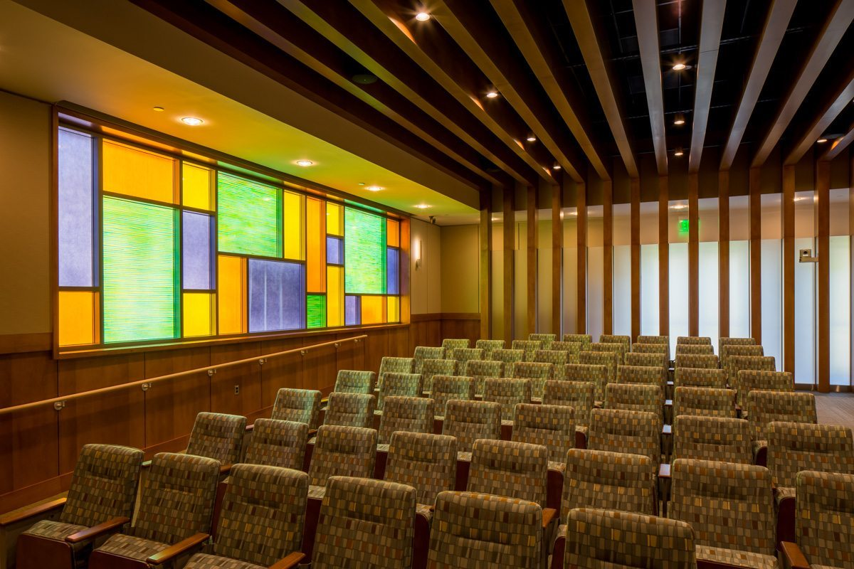 Torques decorative glass partition for Cache Creek Casino by Nathan Allan Glass Studios