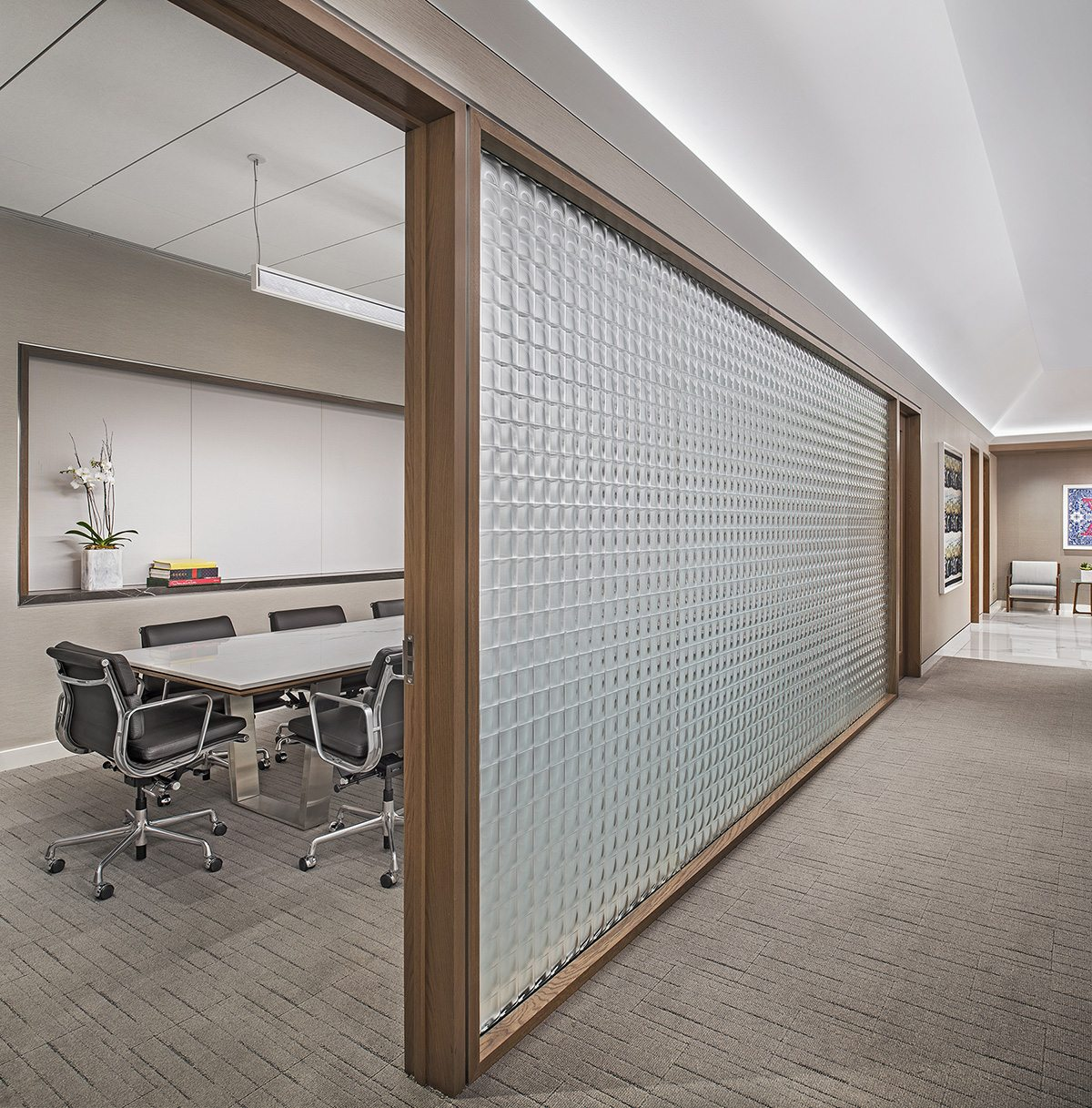 Somerset Offices Convex Squares Frosted Architectural Glass Wall