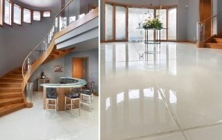 White Metallic Glass Stair Treads Glass Flooring
