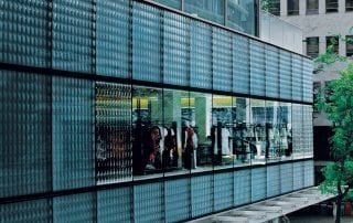 architectural glass wall by Nathan Allan Glass Studios