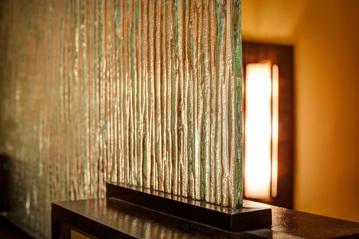 Deep Rain glass dividers at Silver Reef Casino Steakhouse by Nathan Allan Glass Studios