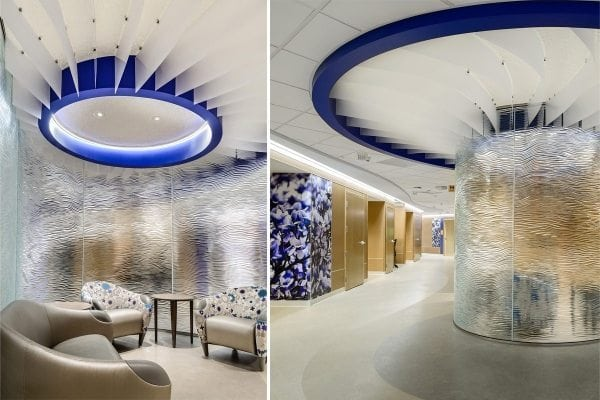 mirage textured glass partition mother baby hospital