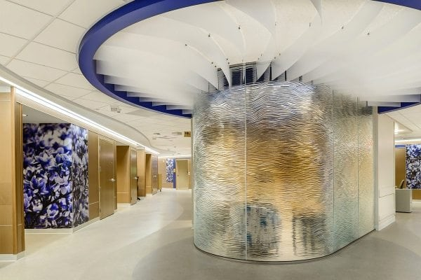 mirage textured glass partition for United Hospital Mother Baby - bent glass