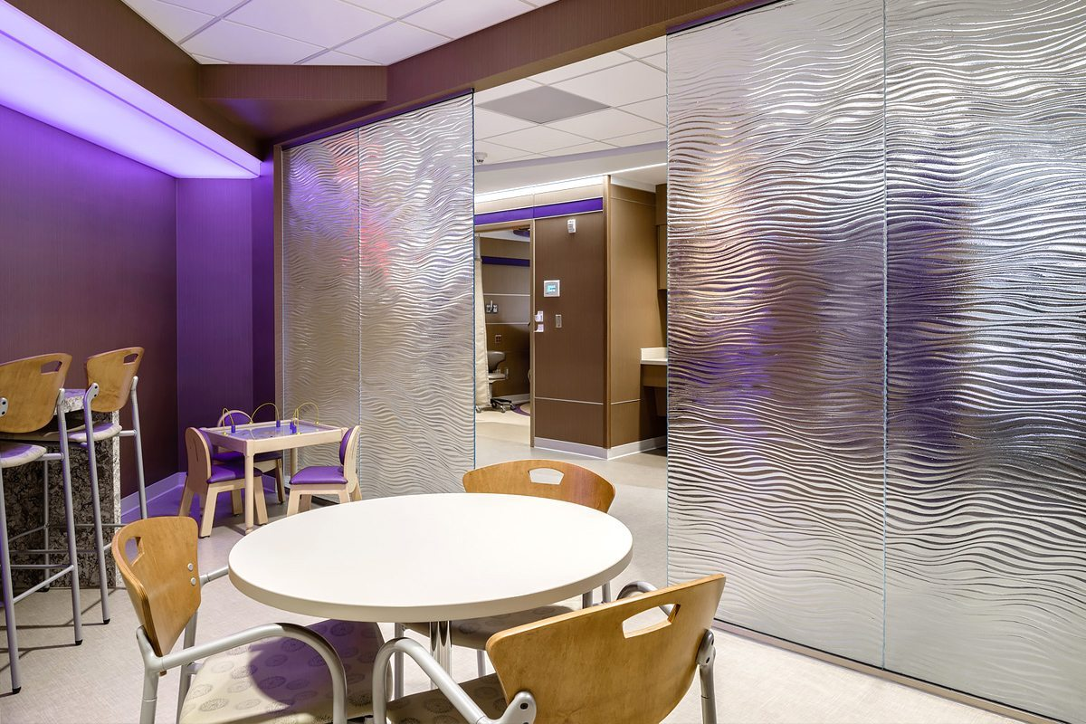 mirage textured glass partition for United Hospital Mother Baby