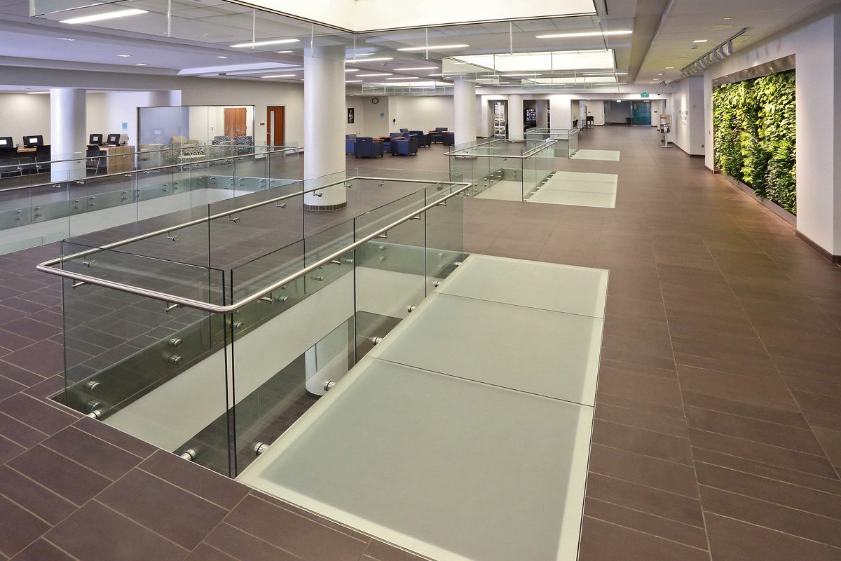 decorative glass flooring and stair treads by Nathan Allan Glass Studios