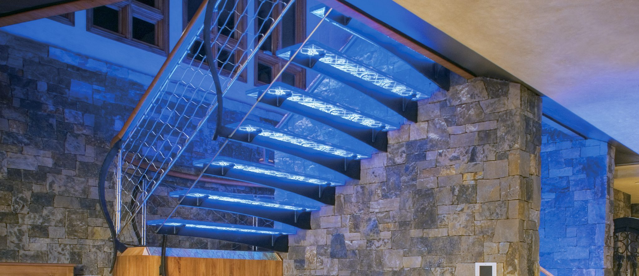Chapin Residence Thick Glass Stairs