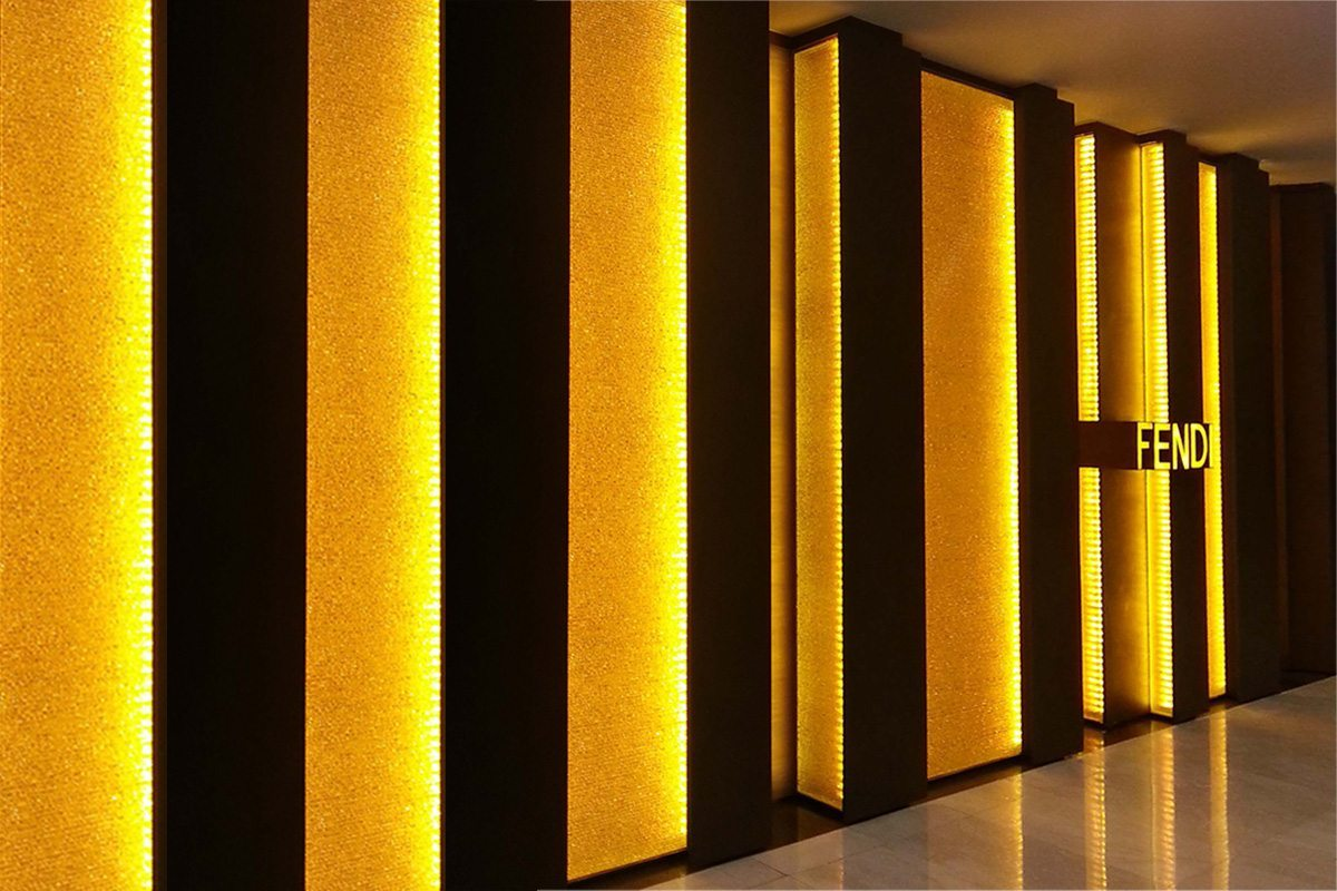 crystal cognac decorative glass wall lighting for Fendi by Nathan Allan Glass Studios