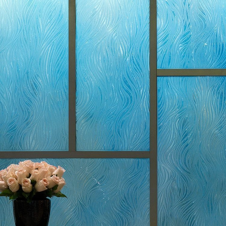 willow decorative glass wall in the front lobby of Langham Hotel by Nathan Allan Glass Studios