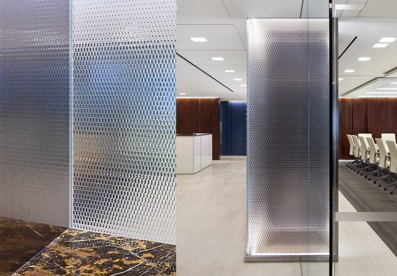 Binary XL decorative glass wall for Morris, Manning & Martin by Nathan Allan Glass Studios