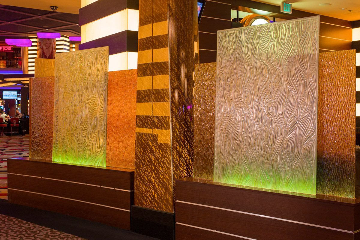 willow decorative glass dividers at Planet Hollywood by Nathan Allan Glass Studios
