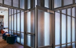 Jewel textured glass partitions for Ludlow House, NY by Nathan Allan Glass Studios