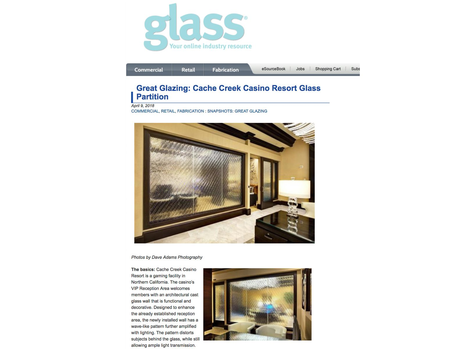Contract Magazine Cache Creek Casino Resort Glass Partition
