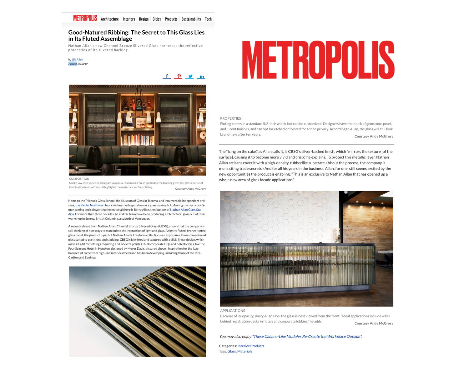 Metropolis | Channel Bronze Silvered Glas